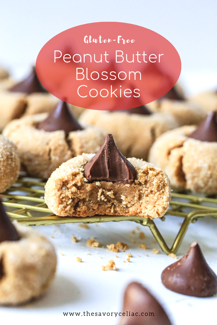 Pinterest graphic for gluten-free peanut butter blossoms