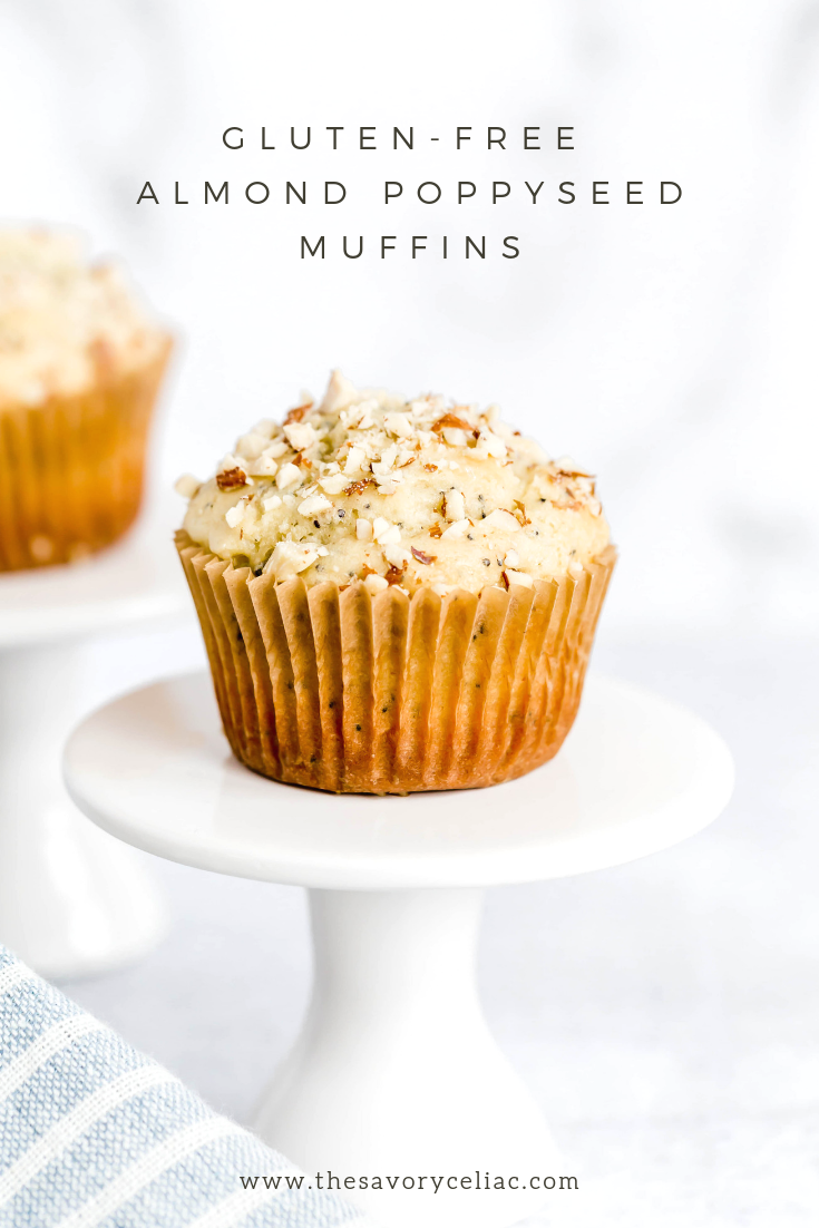 Pinterest graphic for gluten-free almond poppyseed muffins.