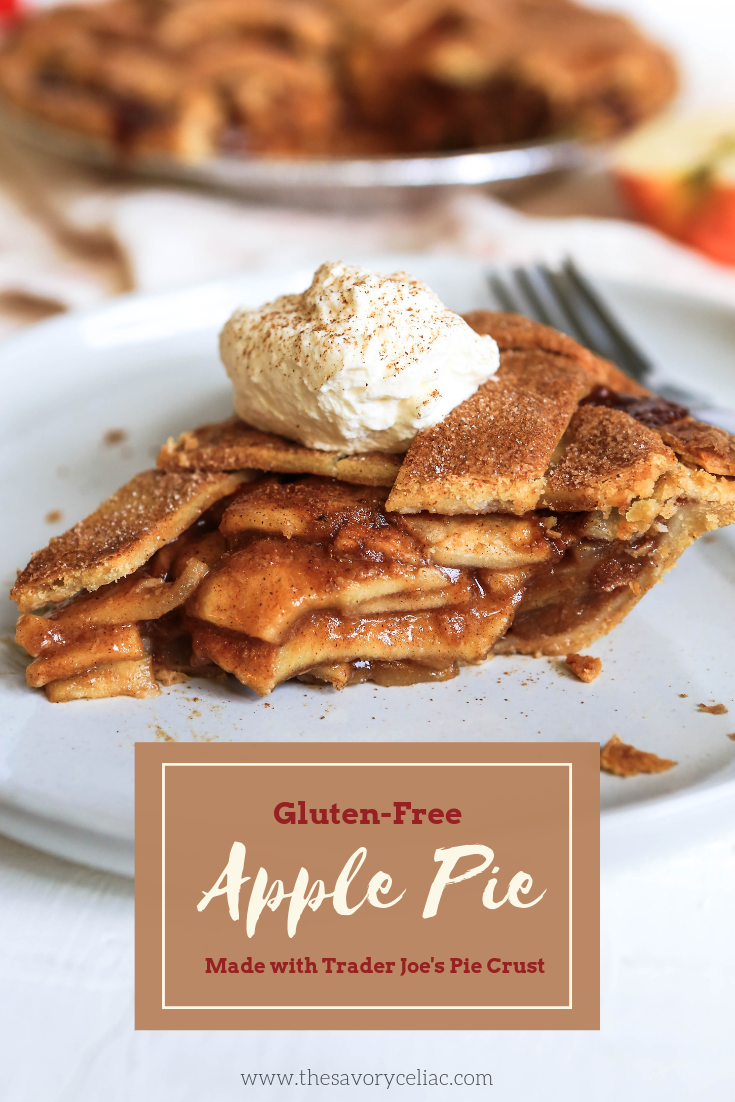 A Pinterest graphic for lattice top apple pie made using Trader Joe's gluten-free pie crust.
