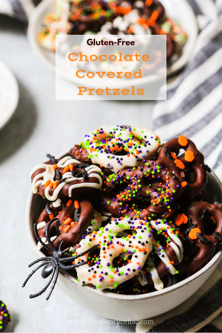 Pinterest graphic of Halloween themed gluten-free chocolate covered pretzels.