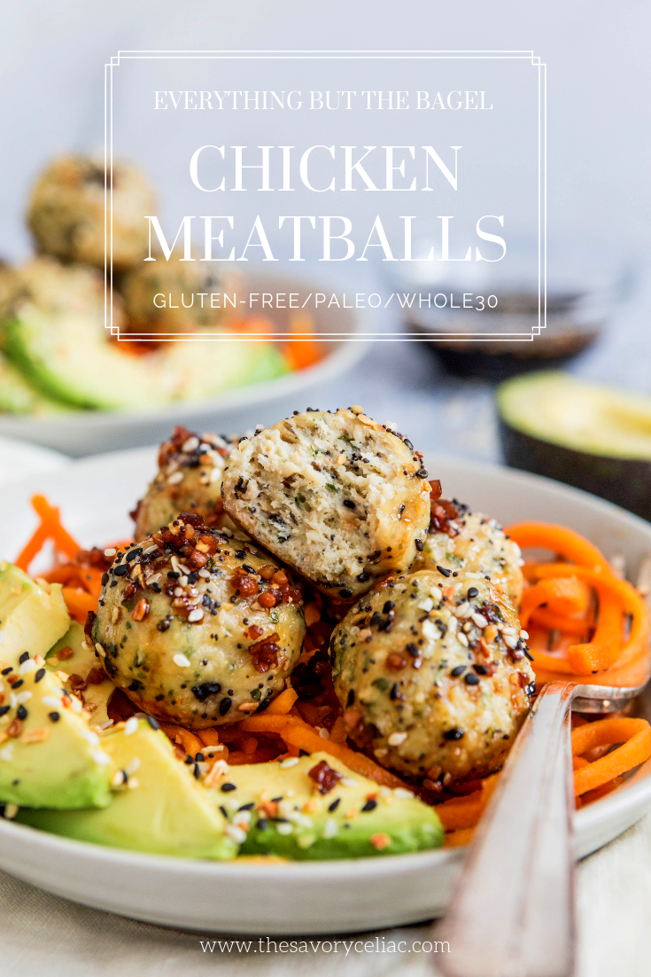 Pinterest graphic for chicken meatballs made with everything but the bagel seasoning.
