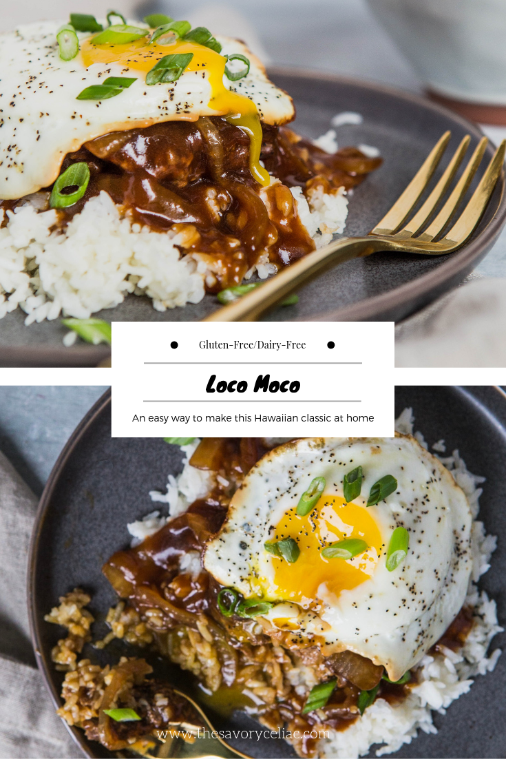 Pinterest graphic for a loco moco dish.
