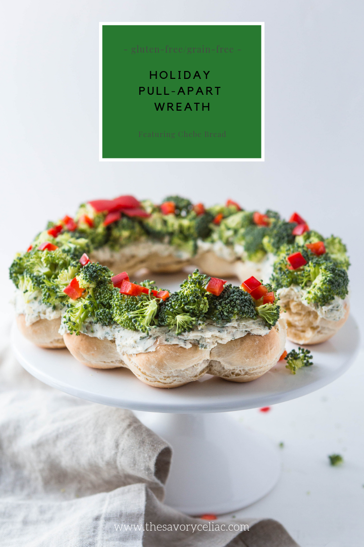 Pinterest graphic for a grain-free pull apart bread that looks like a holiday wreath.