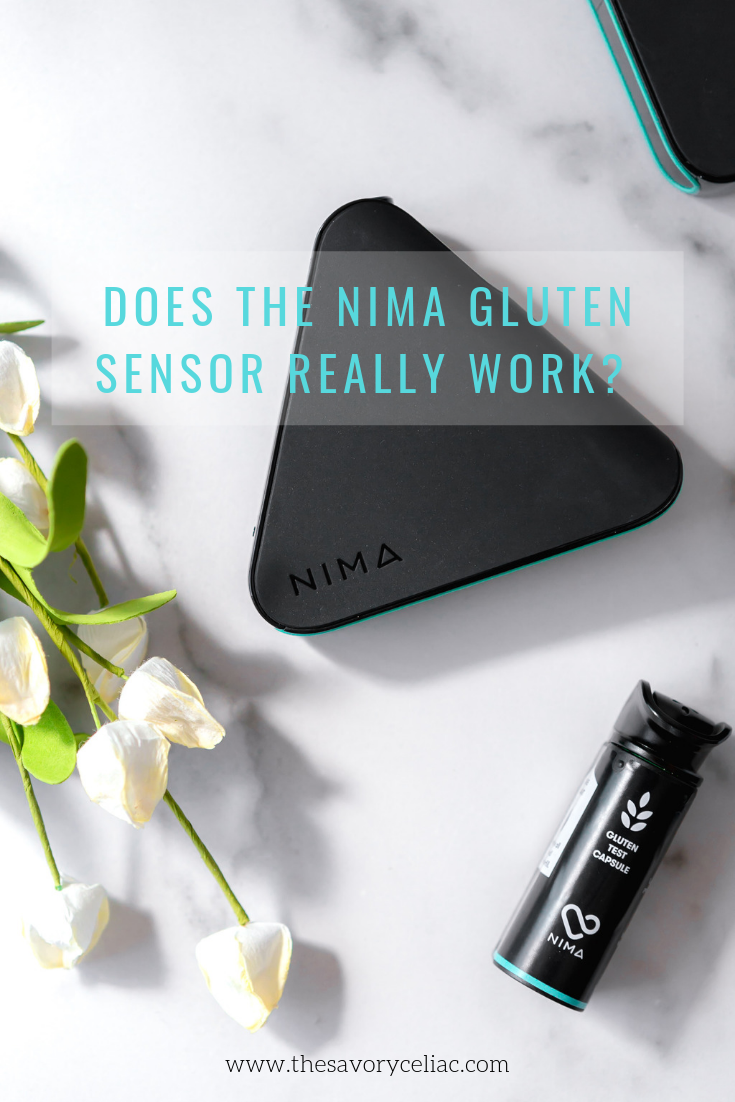 A Pinterest graphic for a blog article all about the Nima gluten sensor.
