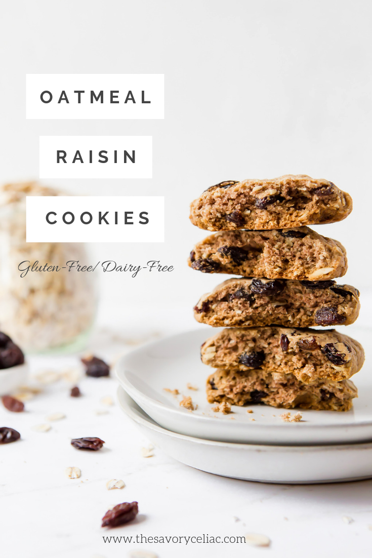 Pinterest graphic for oatmeal raisin cookies using Chebe grain free tapioca flour.