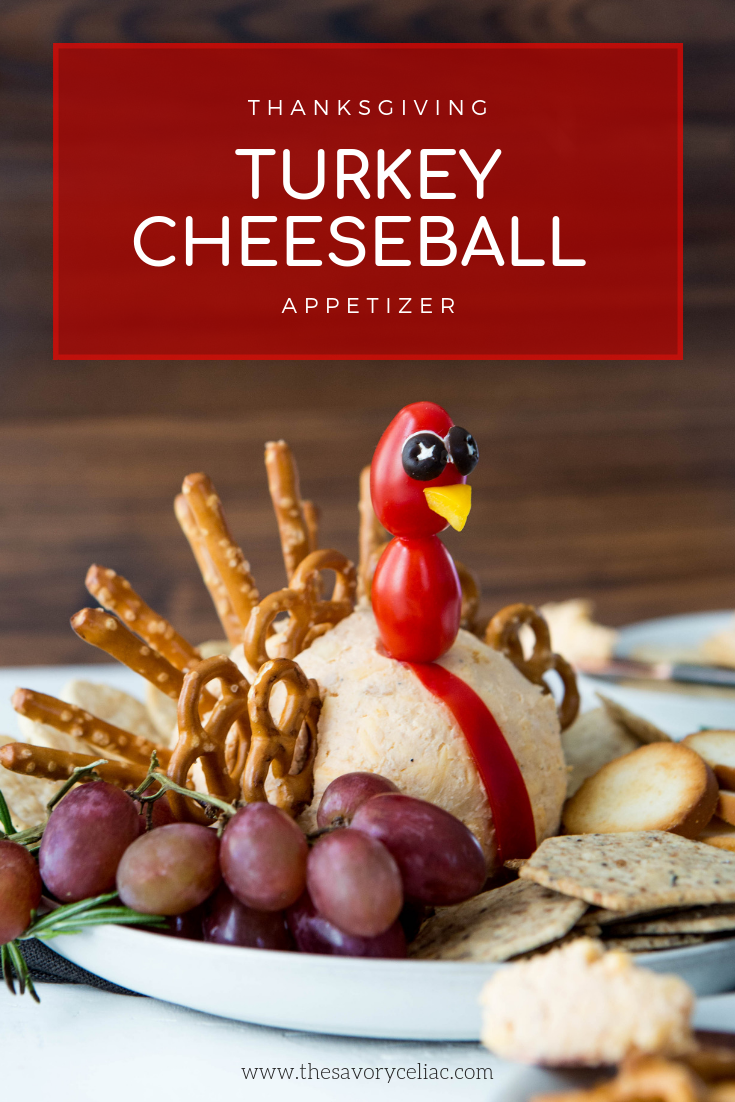 Pinterest graphic for a cheeseball that is shaped like a turkey.