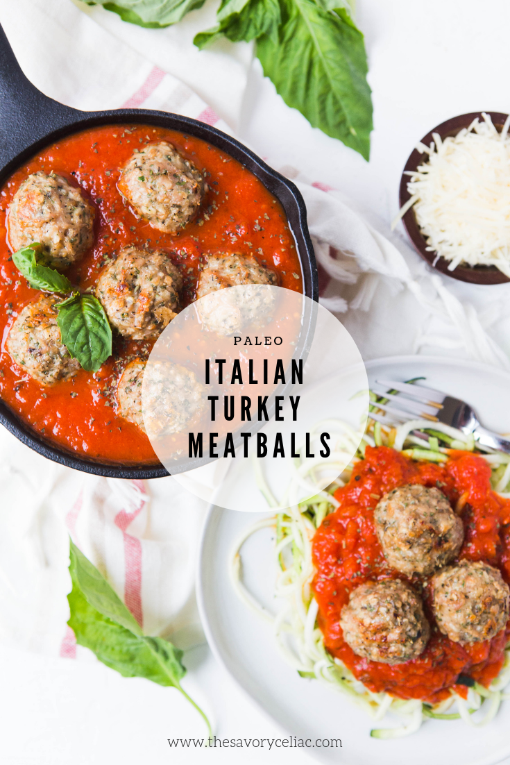 Pinterest graphic for homemade paleo/Whole30 turkey meatballs with marinara sauce.