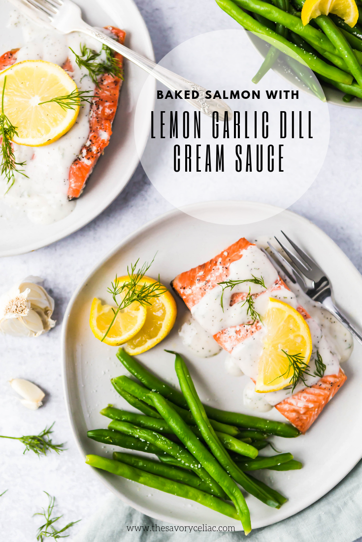 Pinterest graphic for lemon garlic dill baked salmon