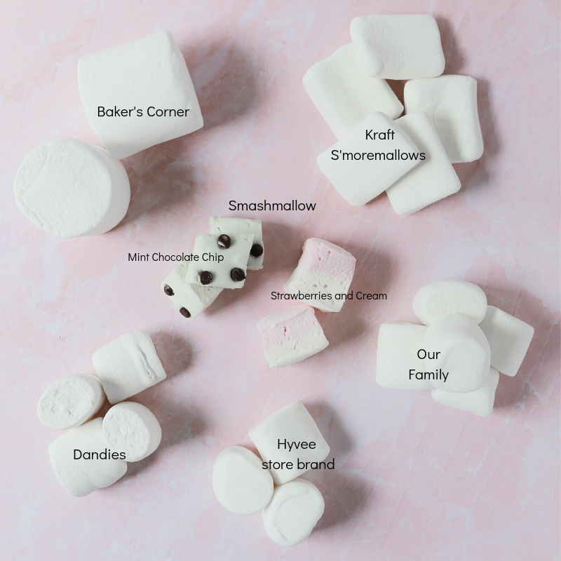 Graphic showing different types of gluten-free marshmallows.