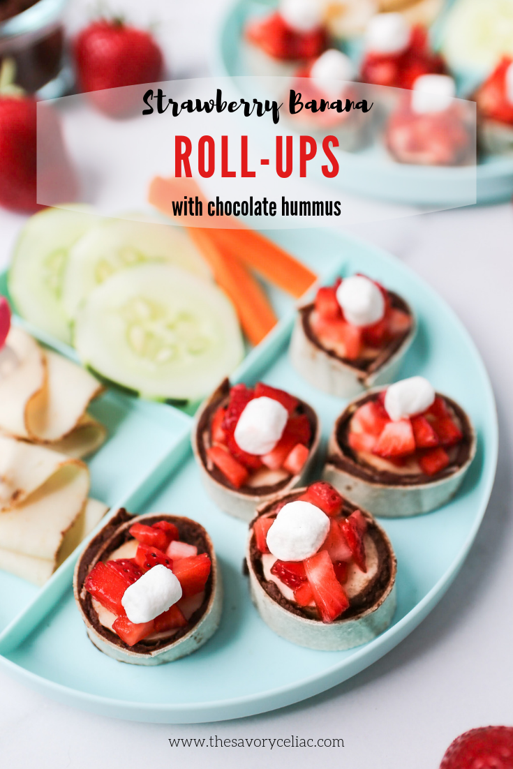 Pinterest graphic for strawberry banana roll-ups with chocolate hummus.