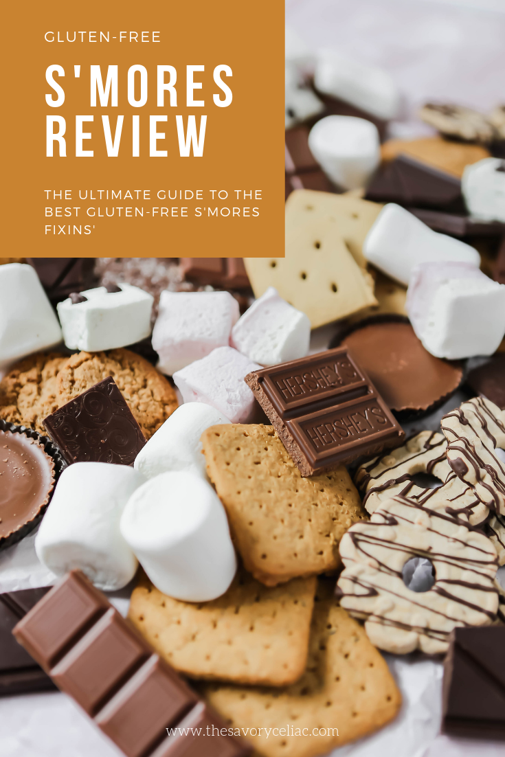 Pinterest graphic for a roundup of all the best gluten-free s'mores fixings.